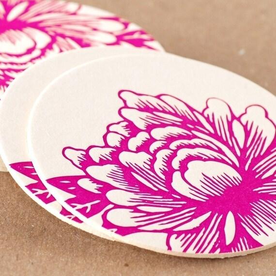 Letterpress Coasters : Fuchsia Blossoming Flower Coasters - box of 6 coasters in kraft box