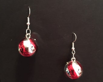 Red and Silver Swirl Ornament Earrings