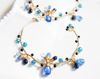 Kyanite Sapphire Blue Gemstone Earrings, Wire Wrapoed Earrings, Wedding Earrings, Gold Hoop, Sterling silver