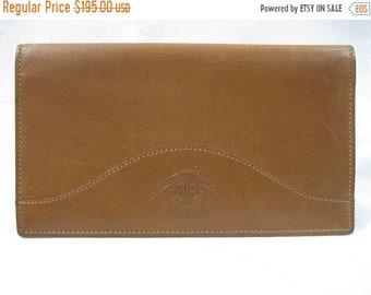 15% SUMMER SALE Vintage tan leather GHURKA checkbook wallet Marley Hodgson