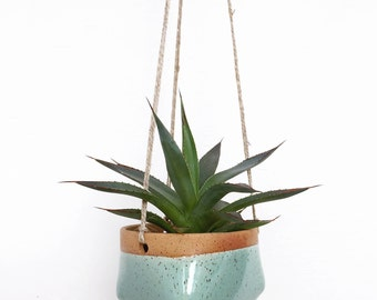 Small Ceramic Hanging Planter in Mint Green / House Plants, Succulents, Air Plants or Cacti / The Valley Planter / READY TO SHIP