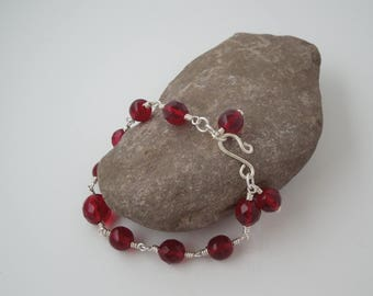 Garnet and Sterling Silver Wire Wrapped Bracelet
