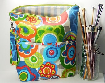 Extra Large Knitting bag, bright floral zipper pouch, project bag, gift for knitter, XL knitting bag, floral project bag, knitters gift
