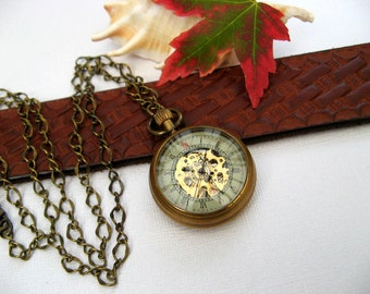 "Victorian Era Antique Bronze Watch Necklace, Mechanical Watch Pendant, 27"" Specialty Chain - Watch - Gift Boxed - MNW770u"