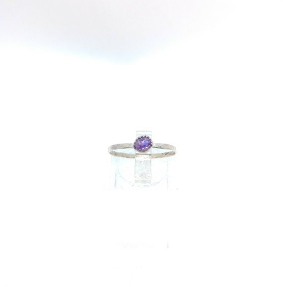 Purple Sapphire Stacking Ring | Sterling Silver Ring Sz 8 | Raw Sapphire Ring | Raw Crystal Stackable Ring | Purple Sapphire Stacker Ring
