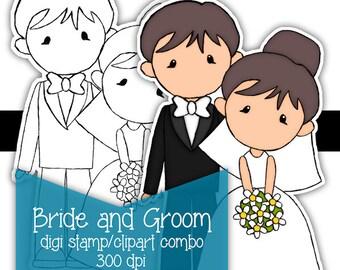 Bride and Groom digi Digital stamp clipart combo COLOR printable Instant Download