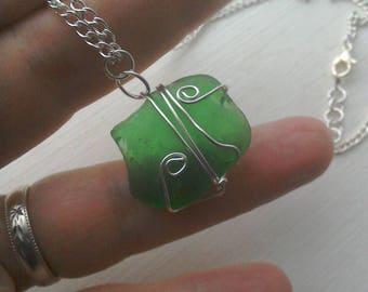 Green Natural Sea Glass necklace / seaglass necklace /seaglass Brighton  / silver wirewrap necklace / wirewrap seaglass pendant
