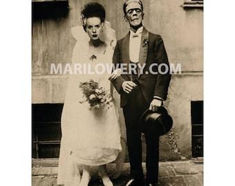 Frankenstein Art, 8 x 10 Inch Print, Bride and Groom, Halloween Decor, Mixed Media Collage, Frankenstein Wedding, frighten