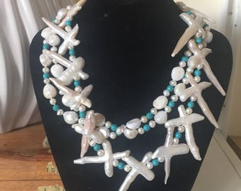 Vintage Hand Knotted Freshwater Pearls And turquose necklace