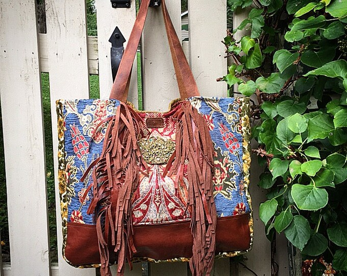 The Bohemian Leather Fringed Large Shopper ~ Travel Tote, Fun Festive Market Bag, Premium Italian Leather, Gorgeous Fabrics ~ Ready to Ship