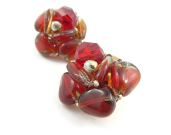Vintage, Red Glass, Cluster Earrings, Gold Tone, Clip Ons