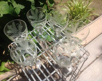 Antique Etched Crystal Water Goblets - set of 6