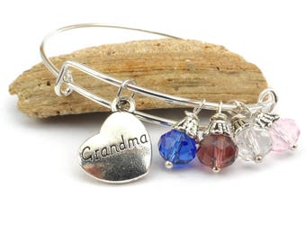 Grandma Birthstone Wire Bangle Bracelet:  Adjustable Stacking Grandmothers Bracelet, Mothers Day Gift For Grandmother