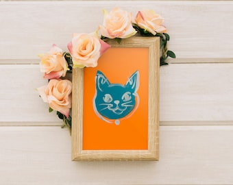 Blue and Orange Kitty Cat -- ART PRINT