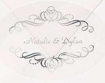 50 Personalized Silver Swirls Envelope Seal Stickers, Fairytale Wedding Envelope Seal Stickers Shiny Metallic Silver Swirls Wedding Stickers
