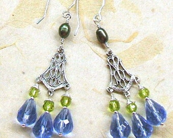 Blue crystal and green pearl earrings, periwinkle blue, lime green