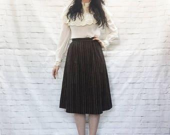 Vintage 70s Striped Wool Midi Skirt XS S Flared Jewel-Toned High Waist