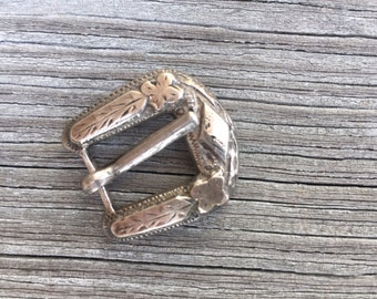 Carved Silver Buckle - 123