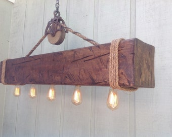 Rustic Barn Beam with Recessed Edison Bulbs, Barn Pulley, Country Mountain Retreat