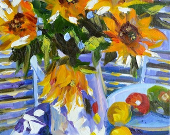 THROUGH THE SHUTTERS ~  Art Print of Original Oil Painting, blue pitcher and sunflowers