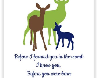 Before I Formed You In The Womb, Jeremiah Wall Art, Scripture Nursery, Scripture Print, Baby Boy Decor, Deer Nursery Decor, Woodland Nursery