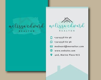 Real estate business cards, Realtor business card, Real estate business card design, Real Estate business card template, Real Estate, Realty
