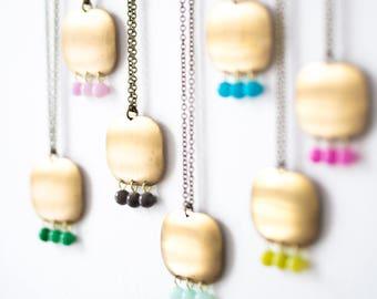 Pendant Necklace  Big Pendant Necklace  Brass pendant  Modern Necklace  Bohemian Necklace  Gemstone necklace  Large pendant necklace