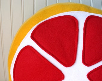 Citrus Plush, Blood Orange Slice Pillow, round pillow