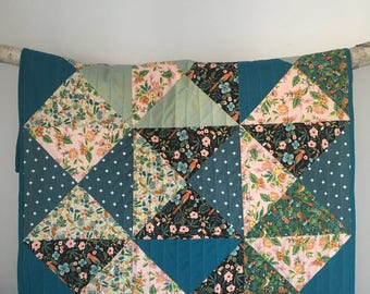 Rifle Paper Co fabric Handmade Patchwork triangle baby crib quilt