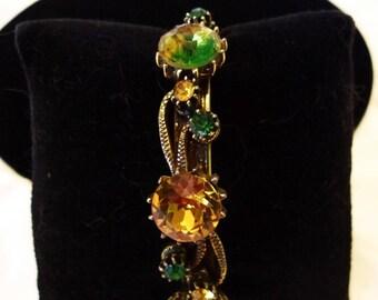 Florenza Victorian Flower Bracelet Green & Watermelon Glass Rhinestone Gold Plate Cuff
