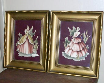 Pair of 1940's Signed Prints by Turner in Original Gold Frames Featuring Two Southern Belles