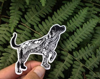 "Hiking Dog Sticker  3""  and 4"" sizes Weatherproof and durable, Outdoor sticker, Travel sticker, Wanderlust, Mountains, Moon , Trees, Lab"