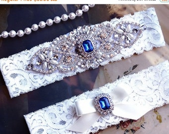 ON SALE Wedding Garter Set, Bridal Garter Set, Vintage Wedding, Off White Lace Garter, Crystal Garter Set, Something Blue, Victoria Style