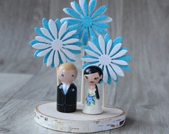 Wedding figurines: Personalized Wedding Cake Topper - Destination wedding - Bride and groom doll - Customized peg dolls - Custom cake topper