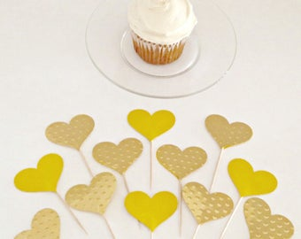 Gold Cupcake Toppers, Heart Cupcake Toppers,  Cupcake Toppers Wedding, Birthday Cupcake Toppers, Cupcake Toppers, Gold Heart, Food Picks