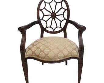 Vintage Thomasville Spider Web Back Desk Lounge Arm Chair Faux Paint
