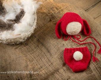 Easter bunny set, newborn girl - handmade knitted red bunny set - panties and bonnet, alpaca silk, newborn photo props