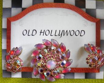 JULIANA, D&E Rhinestone Brooch and Clip Earrings Set.