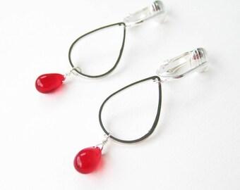 Cherry Red Teardrop Clip-on Earrings, Silver Drop Frame Earrings for Non Pierced Ears, Silver Ear Clips, Lightweight Glass, Modern Drop Red