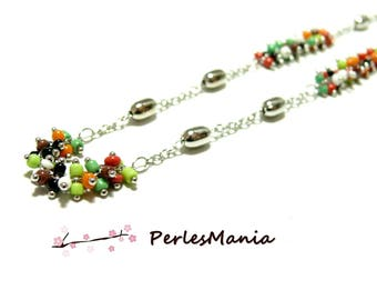 20 cm brass silver plate and glass beads, seed bead multicolored grape ref 33