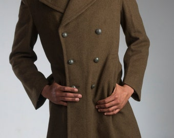 1950's Authentic MILITARY STYLE VINTAGE French Army M47 Brown Wool Overcoat / Greatcoat (Un-issued)