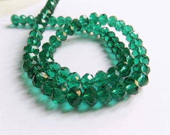 10 beads faceted glass emerald green transparent 6mmx8mm reflections