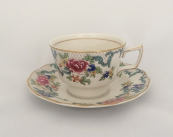 Vintage Teacup and Saucer—Floradora—by Booths—Multi Scalloped