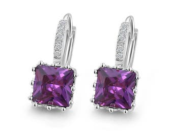 Diane Lo'ren 18kt White Gold Plated Amethyst Princess Crown Huggie Cubic Zirconia Crystal Dangle Leverback Earrings For Women