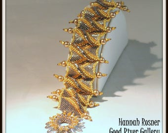 Peyote Stitch Bead Pattern Royal Ruffles beaded Bracelet tutorial instructions - advanced level beading by Hannah Rosner