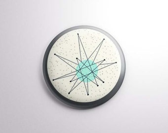 "Franciscan Starburst style | 1"" One Inch Magnet OR pinback button badge pin | vintage midcentury modern motif gray blue cream"