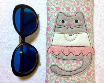 "ITH Project, Glasses Case / Cell phone holder ""Tabbytha"" -Machine Embroidery Pattern 5x7 Hoop by Pixie Willow Patterns"