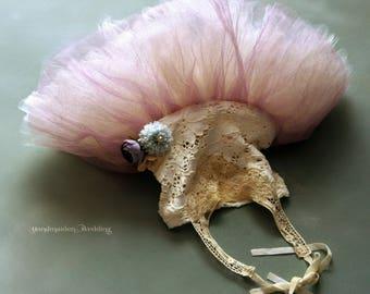Bohemian whimsical flower girl ballerina tutu in dusty rose, ivory and beige with flowers. Size 2-3 years. Wabi sabi wedding.