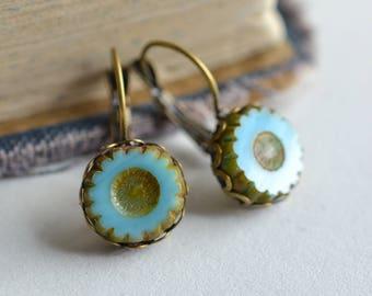 Aqua Blue Antique Earrings / Czech Glass Beads / Brass / Neo Vintage Jewelry