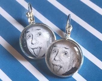 Albert Einstein glass cabochon earrings - 16mm